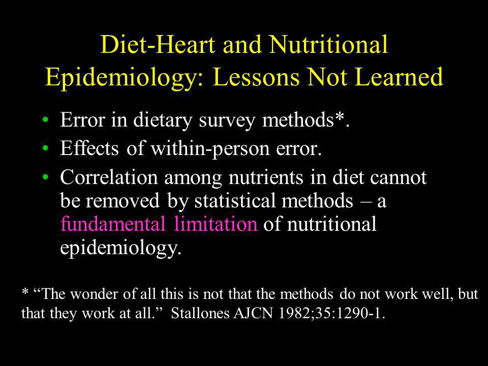 Diet-Heart and Nutritional Epidemiology: Lessons Not Learned