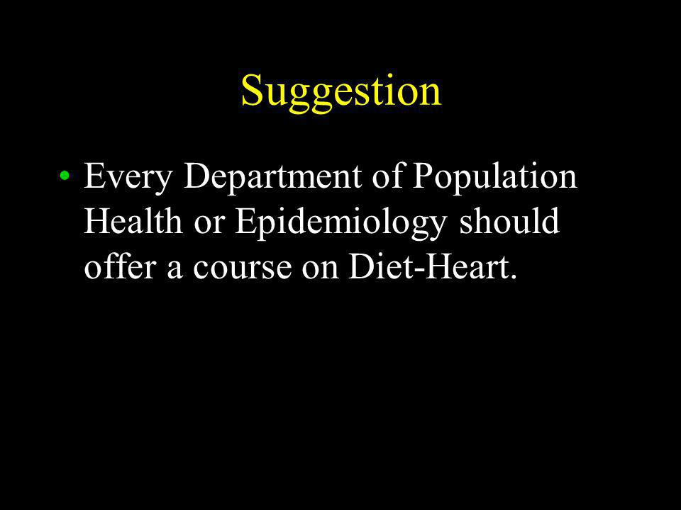 Suggestion Every Department of Population Health or Epidemiology should offer a course on Diet-Heart.