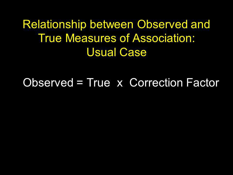 Relationship between Observed and True Measures of Association: Usual Case