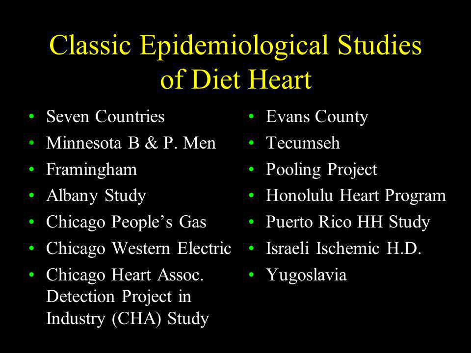 Classic Epidemiological Studies of Diet Heart
