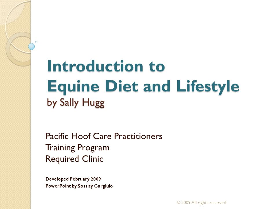 Introduction to Equine Diet and Lifestyle by Sally Hugg