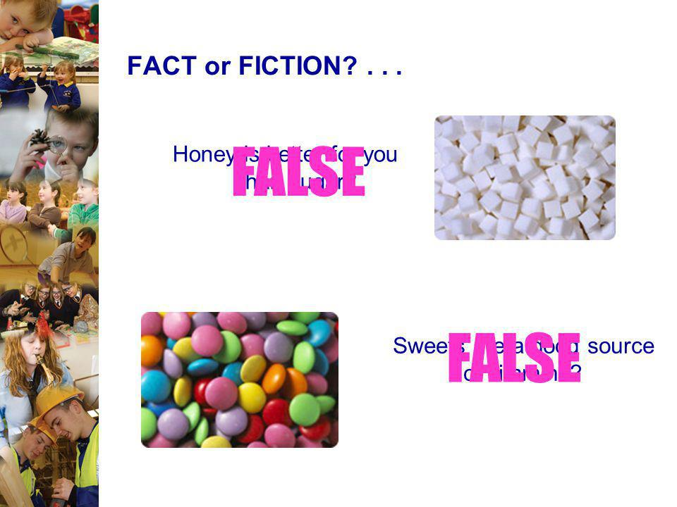 FALSE FALSE FACT or FICTION Honey is better for you than sugar