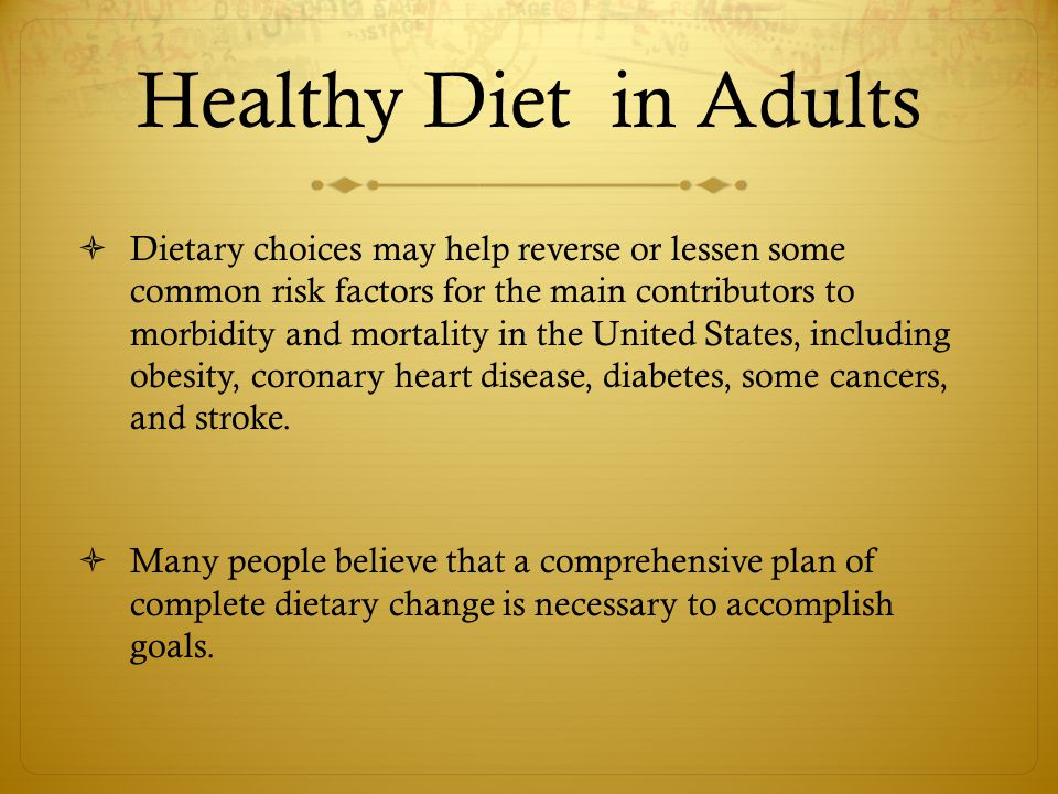 Healthy Diet in Adults