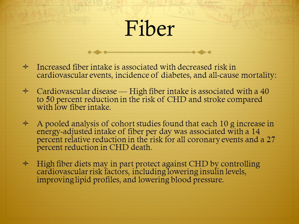 Fiber Increased fiber intake is associated with decreased risk in cardiovascular events, incidence of diabetes, and all-cause mortality: