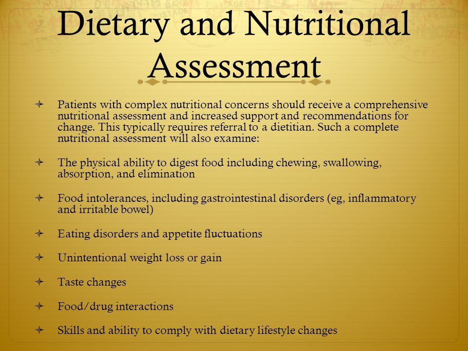 Dietary and Nutritional Assessment