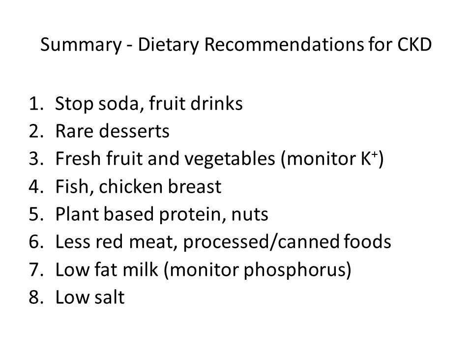 Summary - Dietary Recommendations for CKD