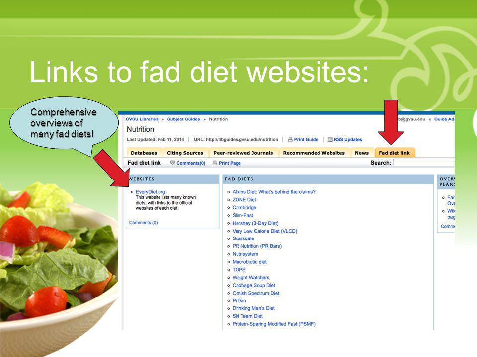 Links to fad diet websites: