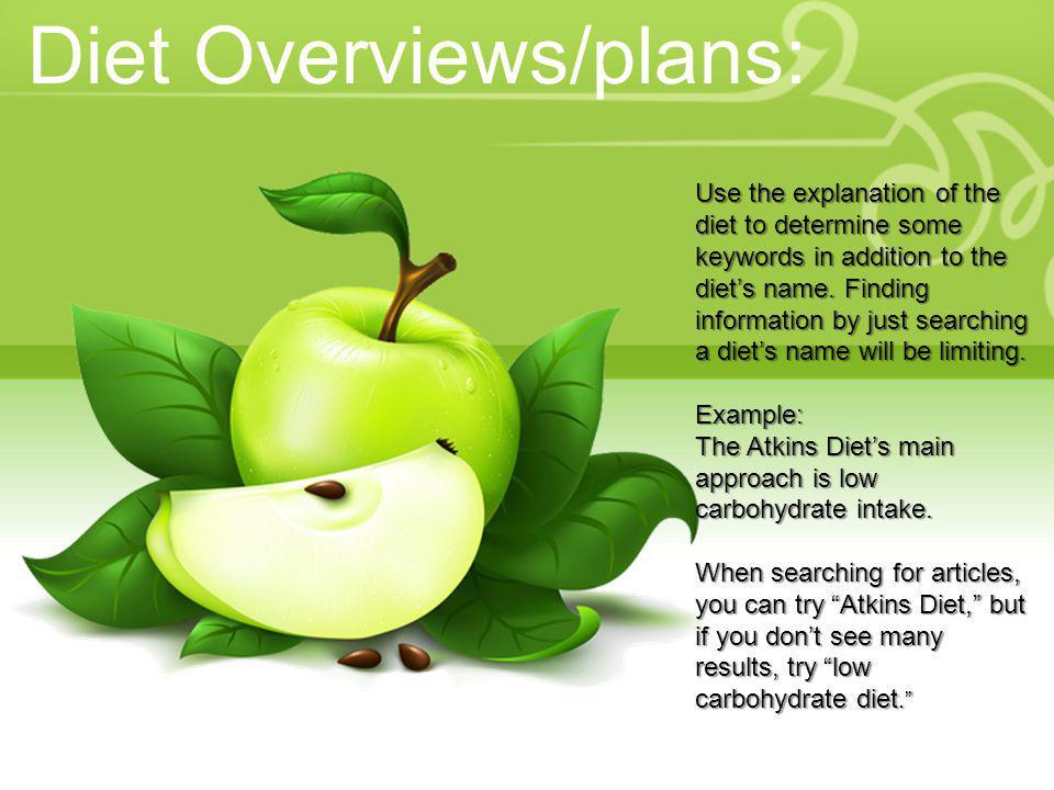 Diet Overviews/plans: