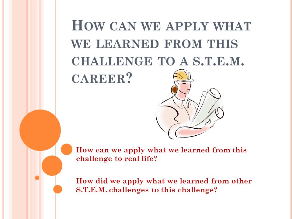 How can we apply what we learned from this challenge to a s. t. e. m