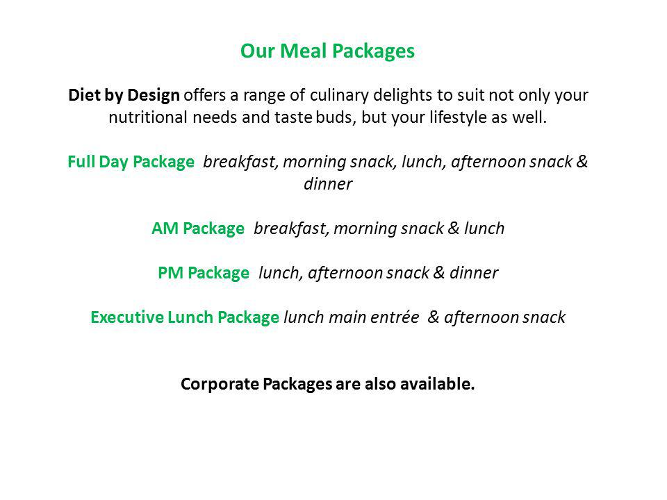 Corporate Packages are also available.