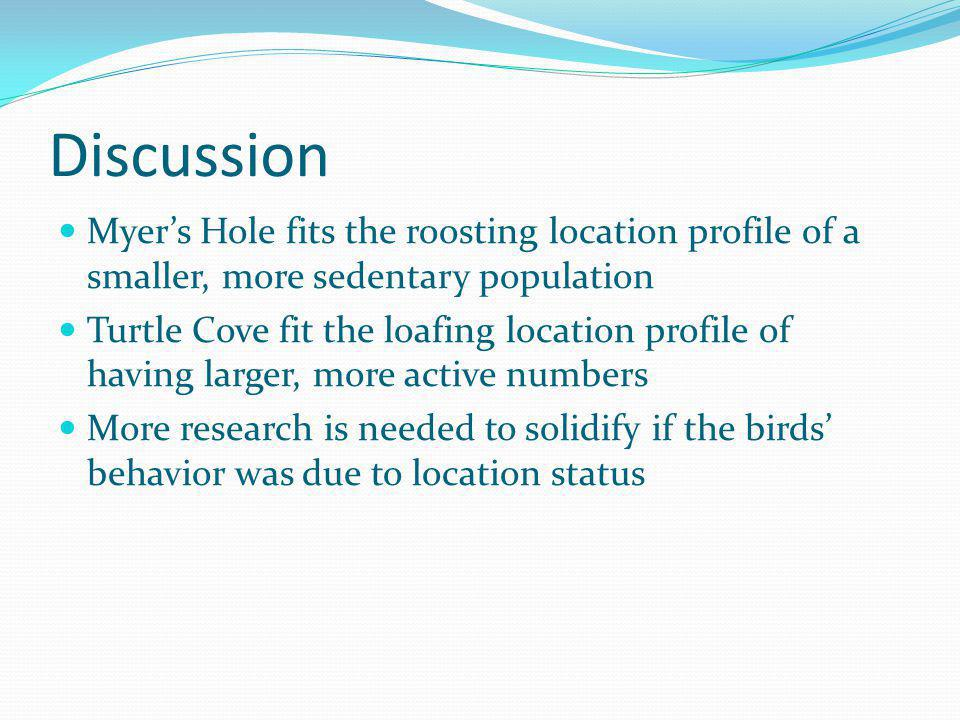 Discussion Myer's Hole fits the roosting location profile of a smaller, more sedentary population.