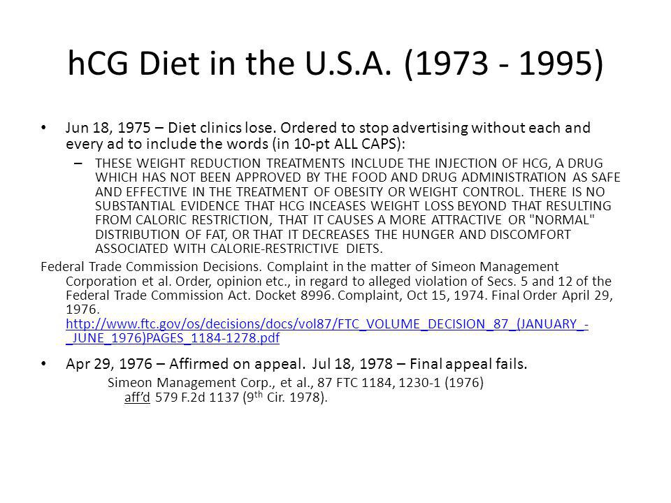 hCG Diet in the U.S.A. (1973 - 1995)