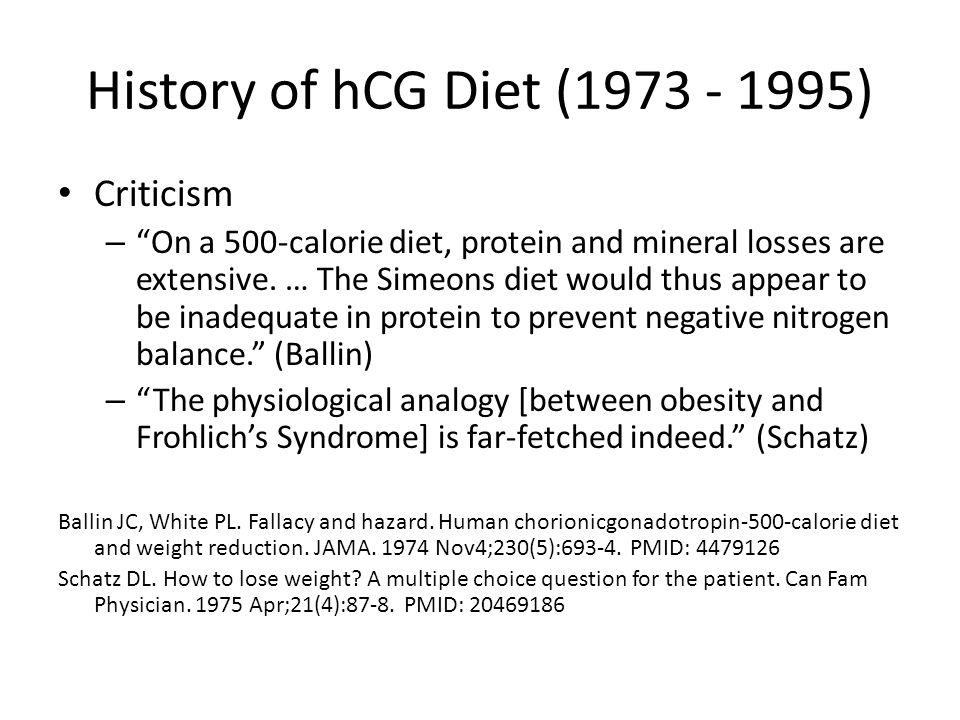 History of hCG Diet (1973 - 1995) Criticism