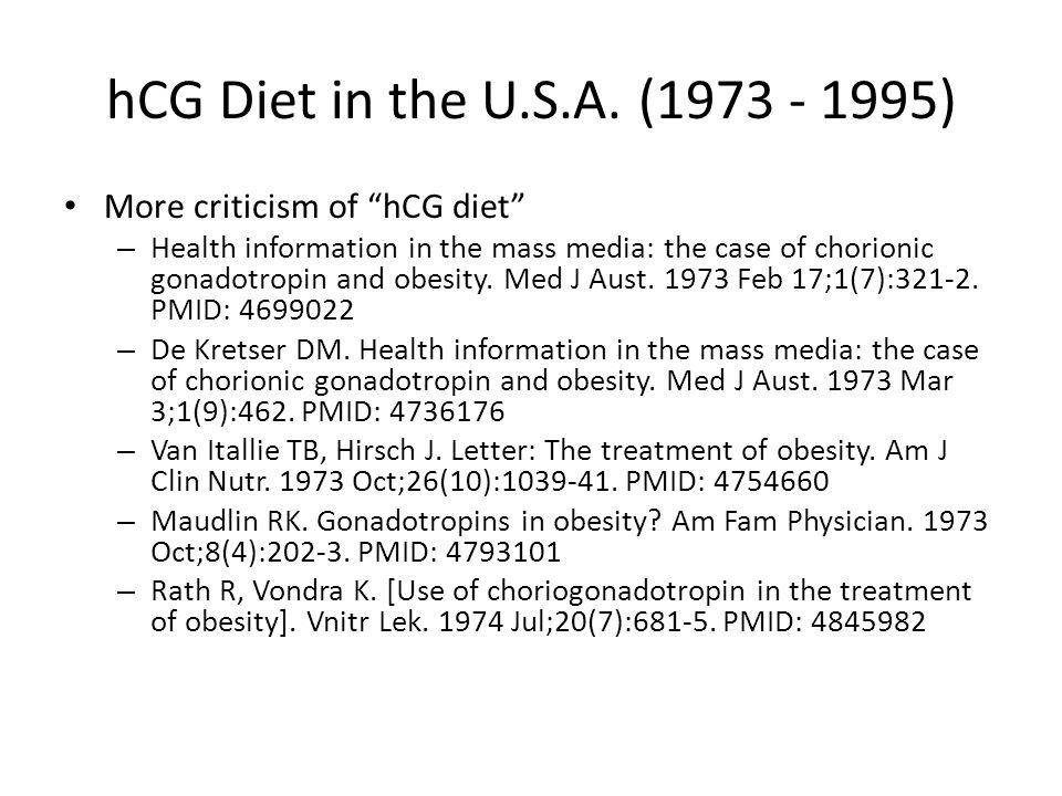 hCG Diet in the U.S.A. ( ) More criticism of hCG diet