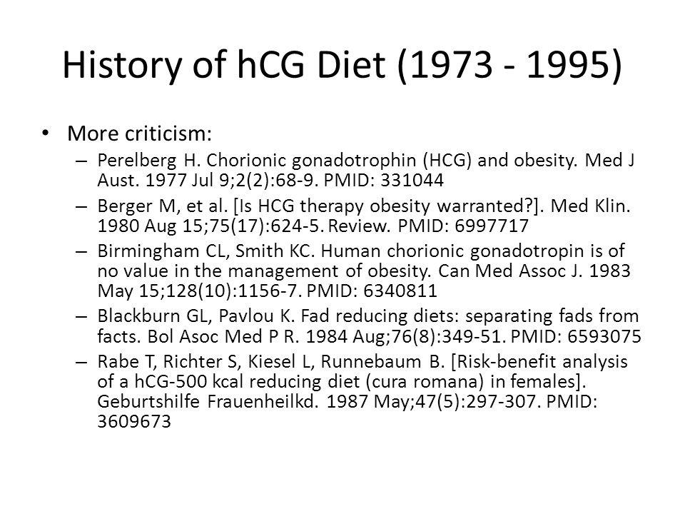 History of hCG Diet (1973 - 1995) More criticism: