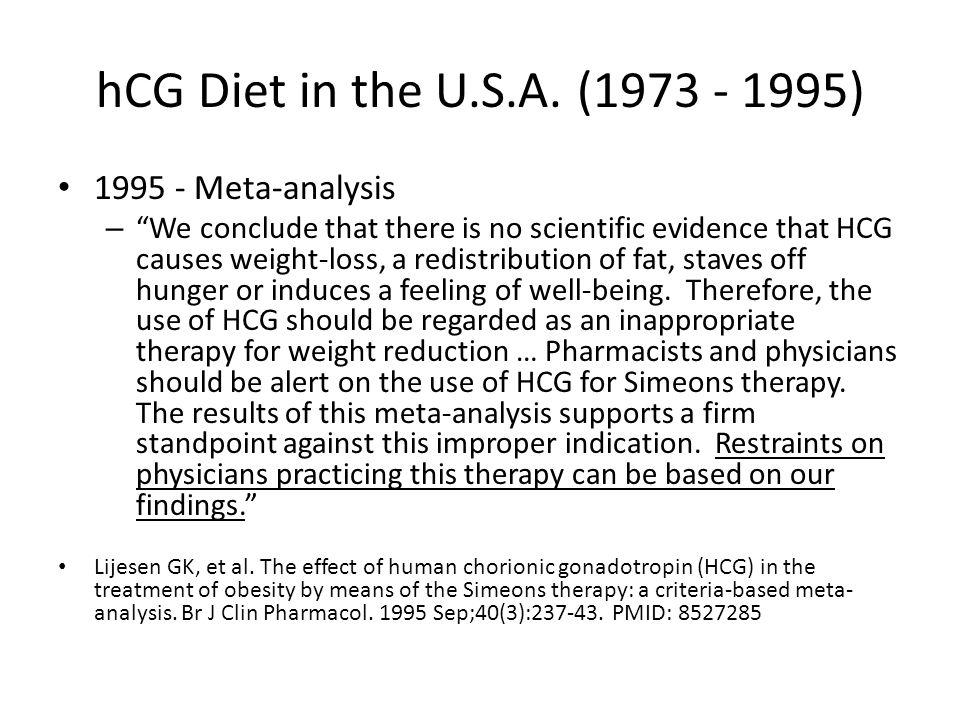 hCG Diet in the U.S.A. (1973 - 1995) 1995 - Meta-analysis
