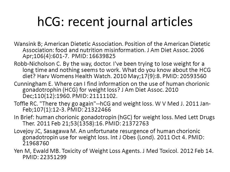 hCG: recent journal articles
