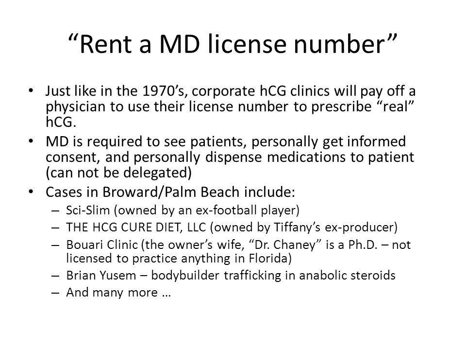 Rent a MD license number