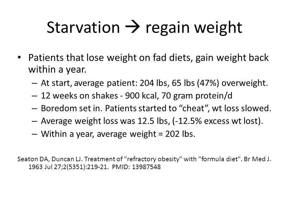 Starvation  regain weight