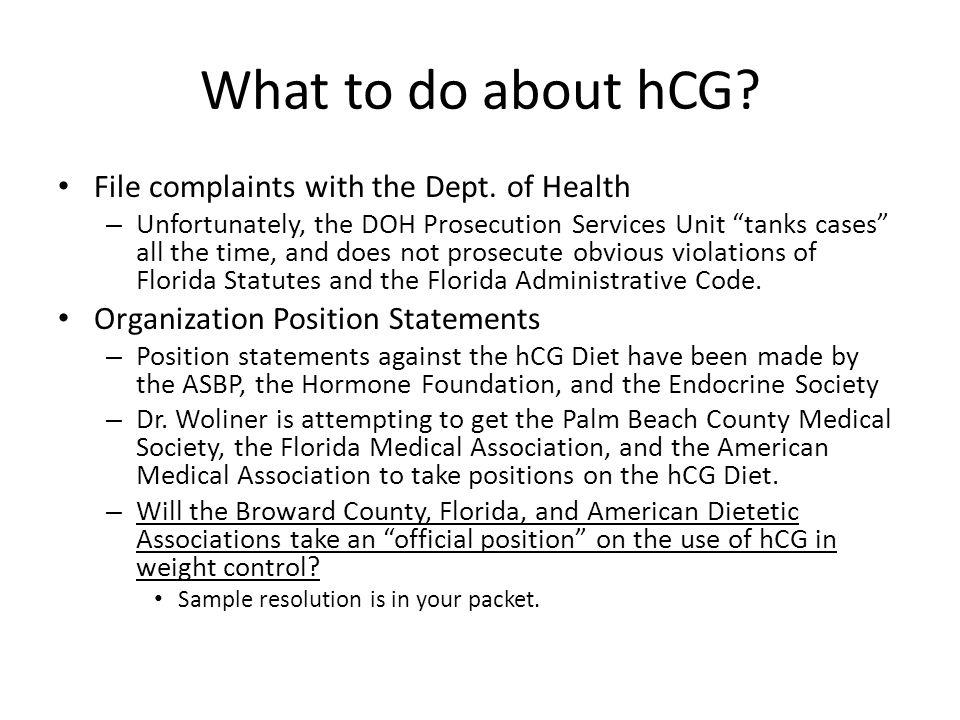 What to do about hCG File complaints with the Dept. of Health