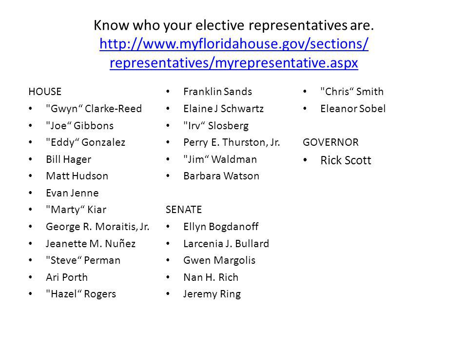 Know who your elective representatives are. http://www. myfloridahouse