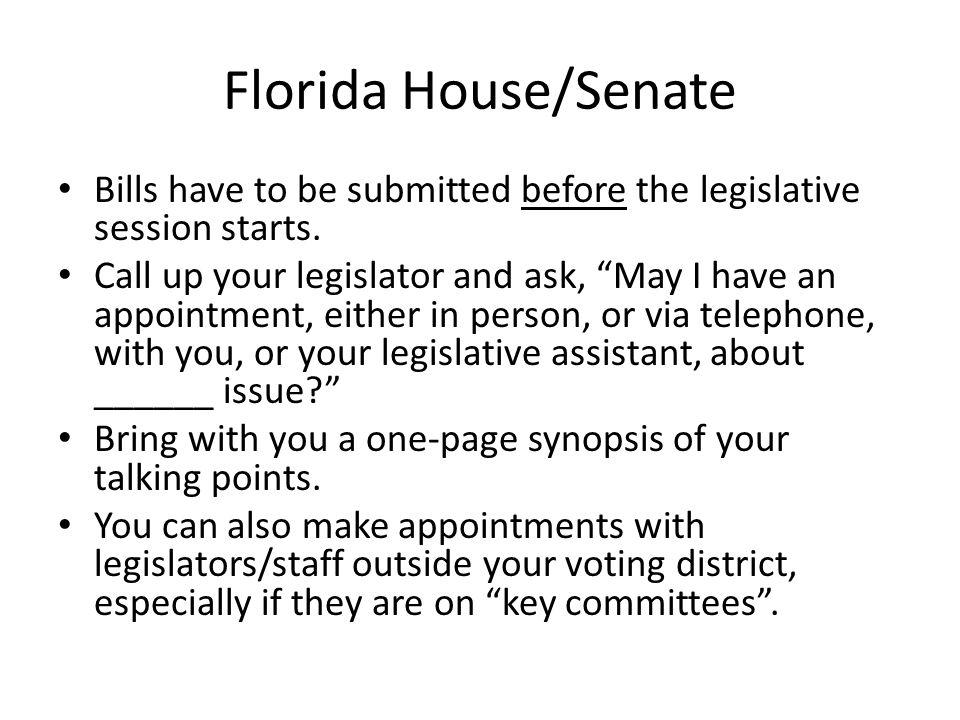 Florida House/Senate Bills have to be submitted before the legislative session starts.