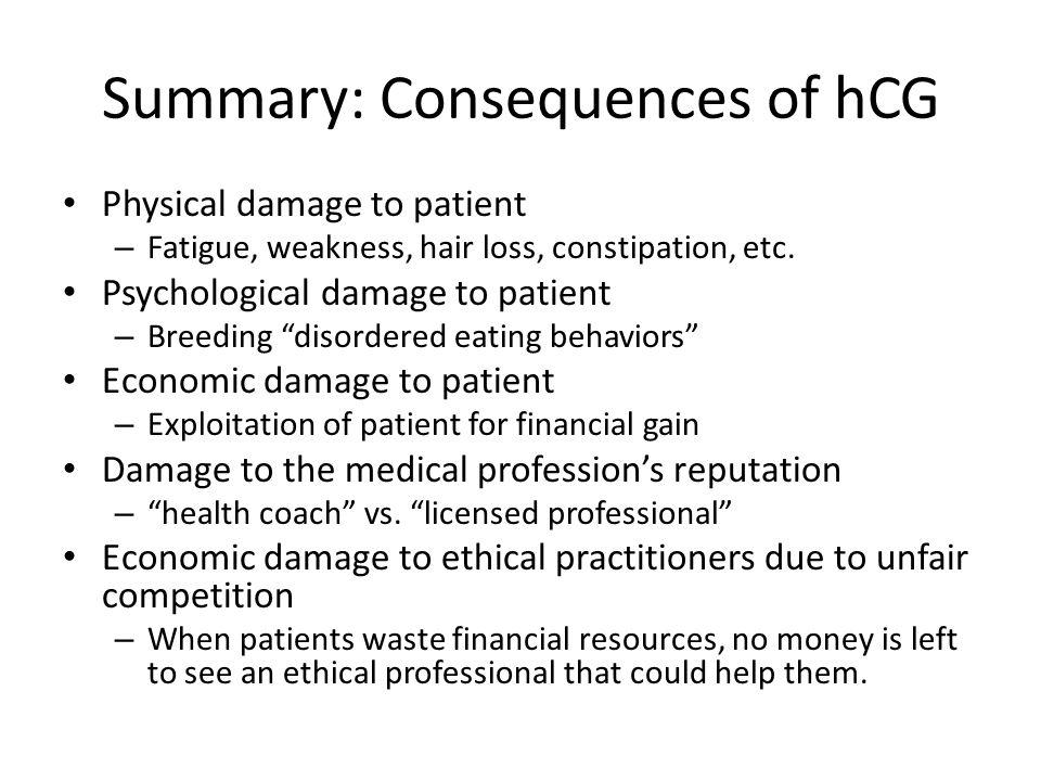 Summary: Consequences of hCG