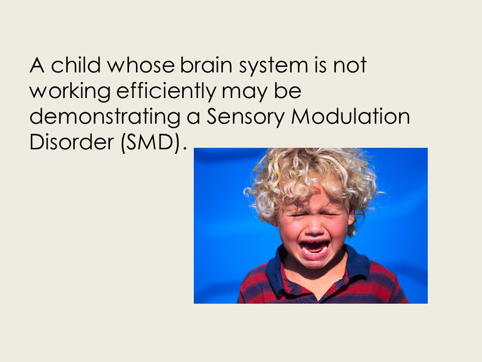 A child whose brain system is not working efficiently may be demonstrating a Sensory Modulation Disorder (SMD).
