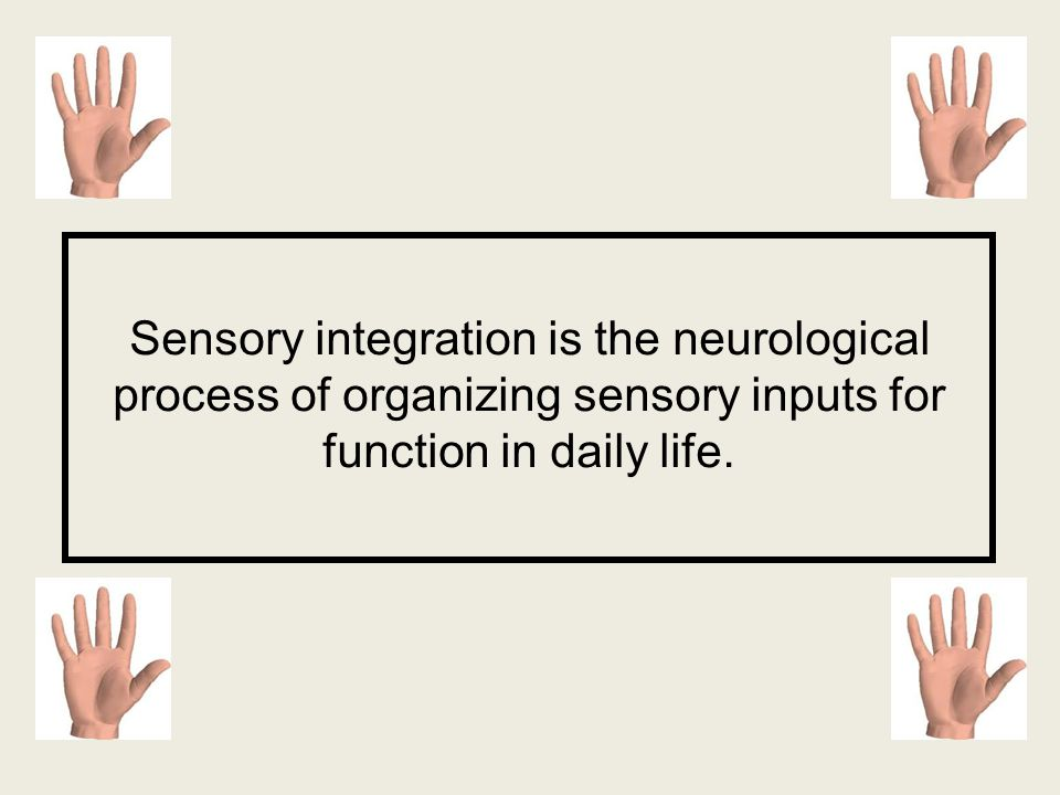 Sensory integration is the neurological process of organizing sensory inputs for function in daily life.