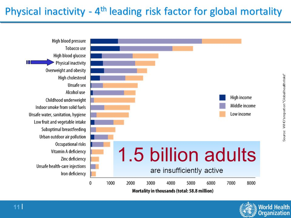 Physical inactivity - 4th leading risk factor for global mortality