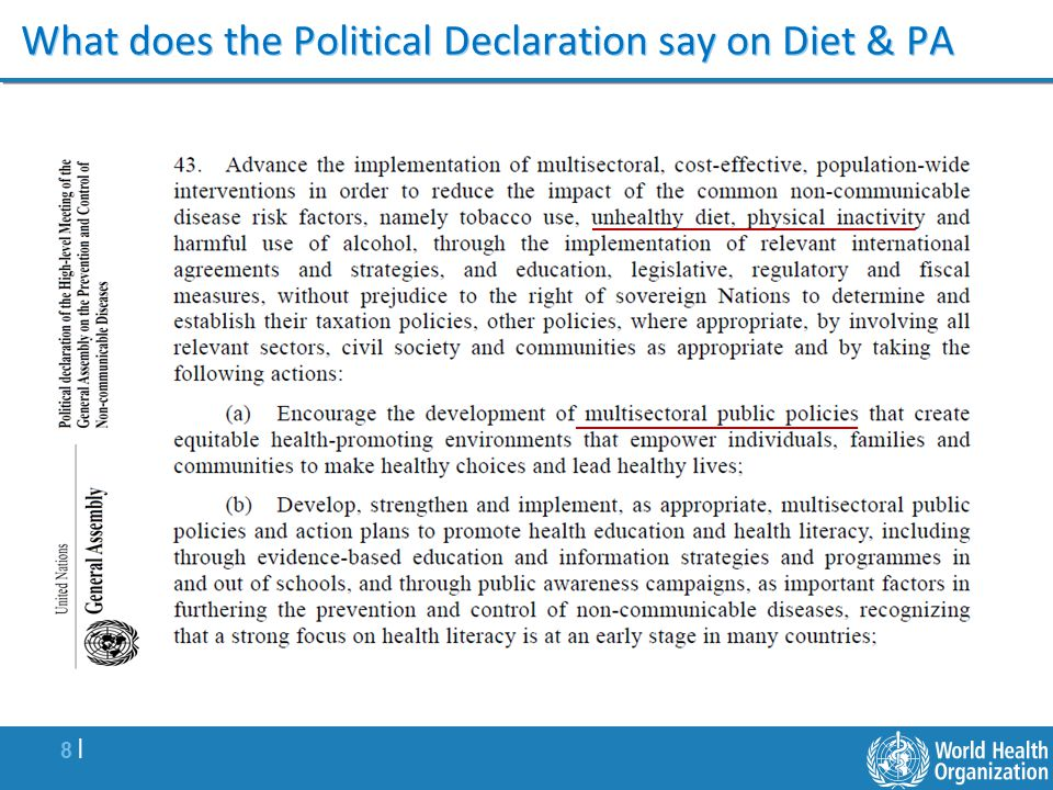 What does the Political Declaration say on Diet & PA