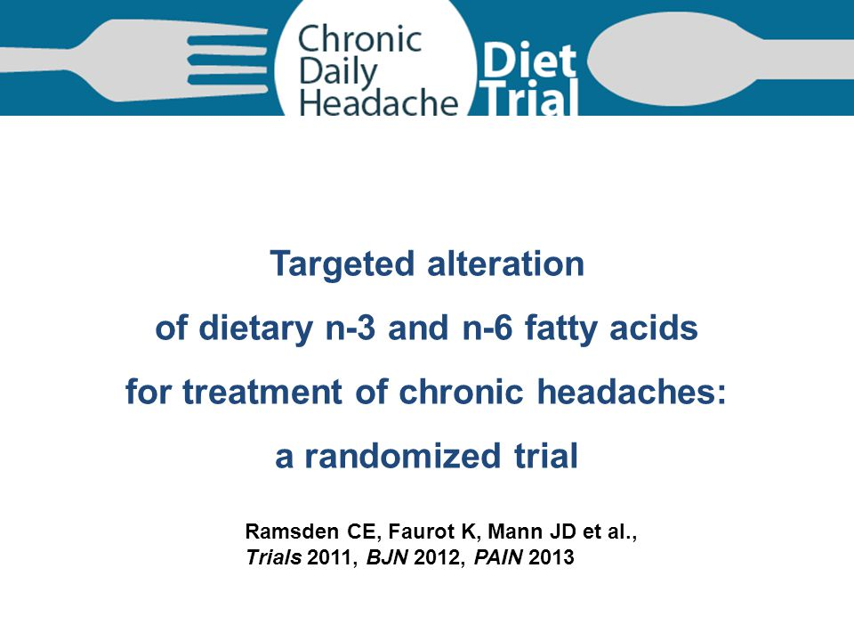 of dietary n-3 and n-6 fatty acids for treatment of chronic headaches: