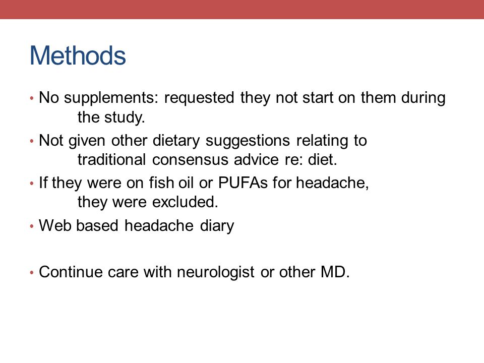 Methods No supplements: requested they not start on them during the study.