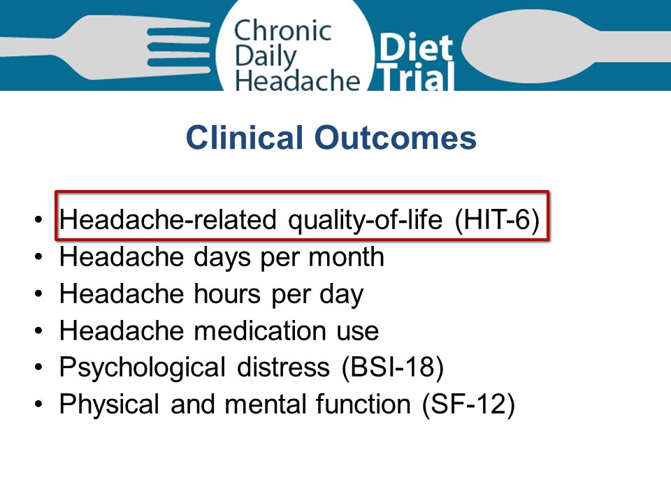 Clinical Outcomes Headache-related quality-of-life (HIT-6)
