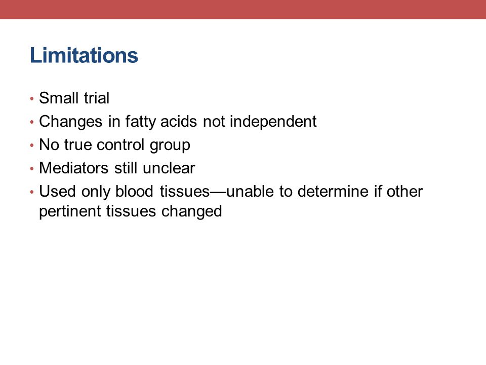 Limitations Small trial Changes in fatty acids not independent