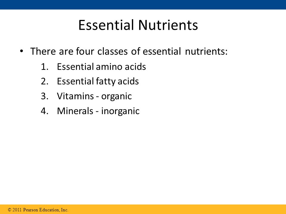 Essential Nutrients There are four classes of essential nutrients: