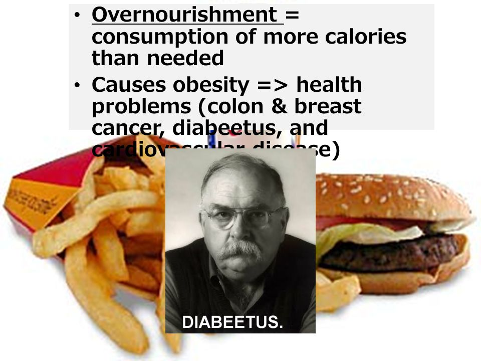 Overnourishment = consumption of more calories than needed