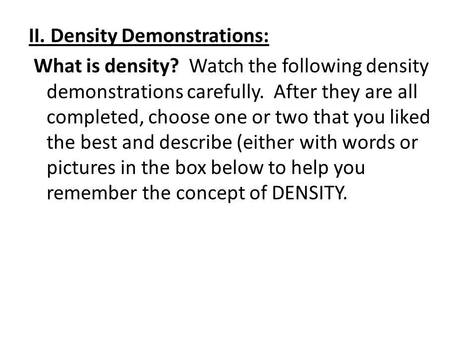 II. Density Demonstrations: What is density