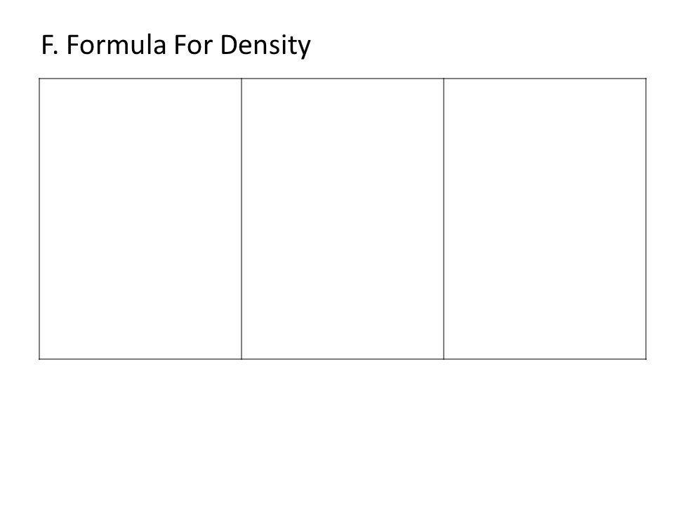 F. Formula For Density