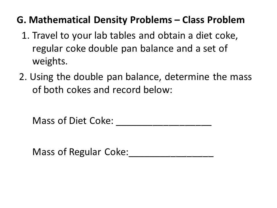 G. Mathematical Density Problems – Class Problem 1