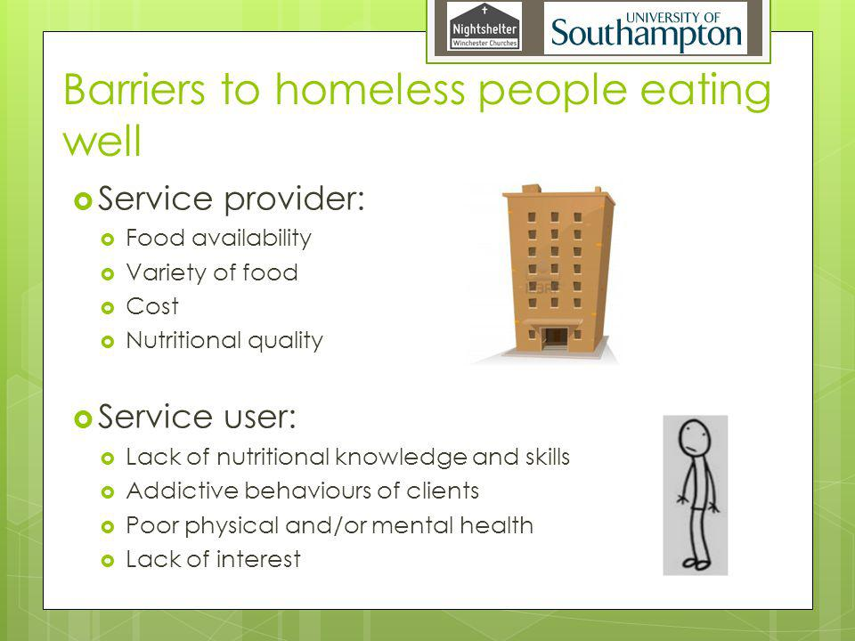 Barriers to homeless people eating well