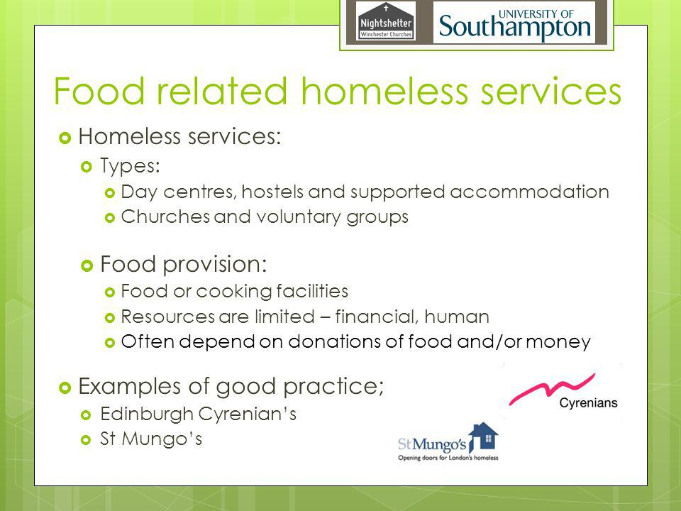 Food related homeless services