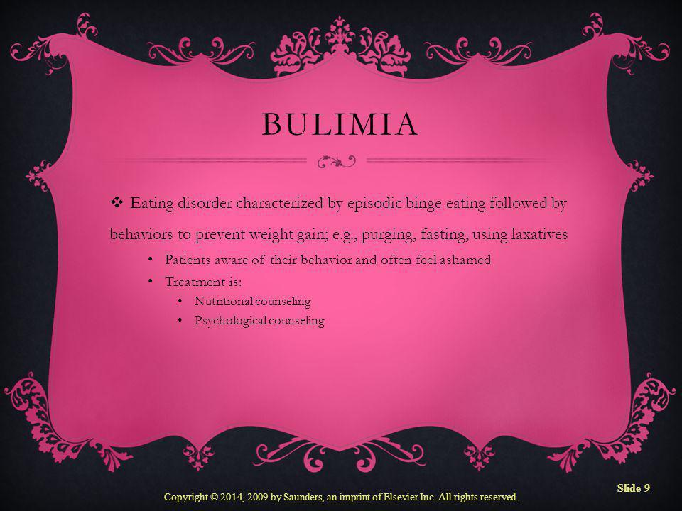 Bulimia Eating disorder characterized by episodic binge eating followed by behaviors to prevent weight gain; e.g., purging, fasting, using laxatives.