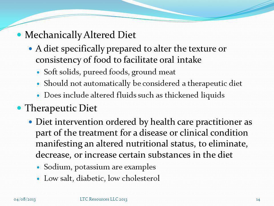 Mechanically Altered Diet