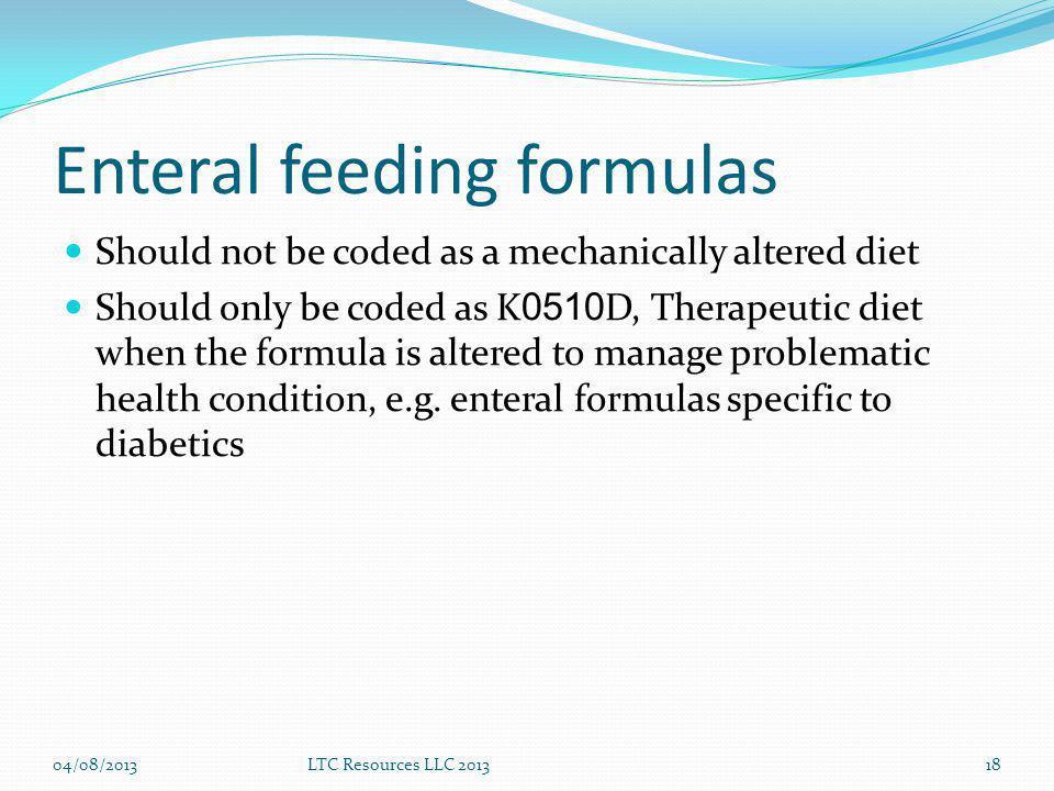 Enteral feeding formulas