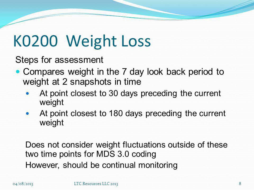 K0200 Weight Loss Steps for assessment