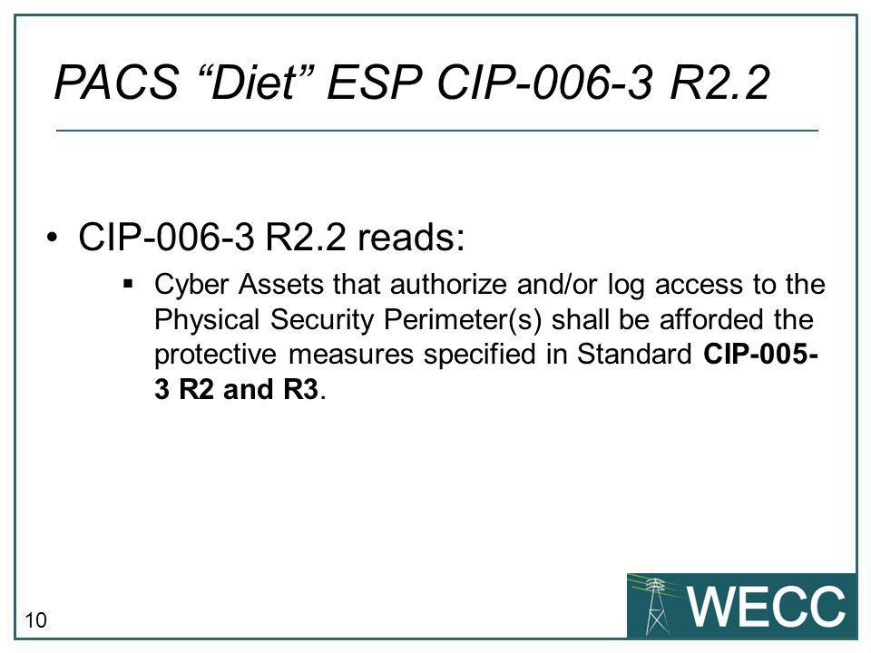 PACS Diet ESP CIP-006-3 R2.2 CIP-006-3 R2.2 reads: