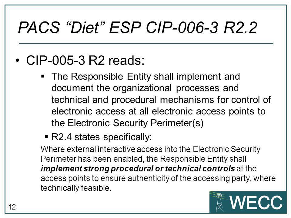 PACS Diet ESP CIP-006-3 R2.2 CIP-005-3 R2 reads: