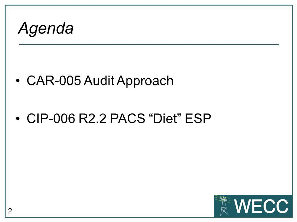 Agenda CAR-005 Audit Approach CIP-006 R2.2 PACS Diet ESP
