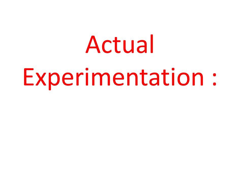 Actual Experimentation :